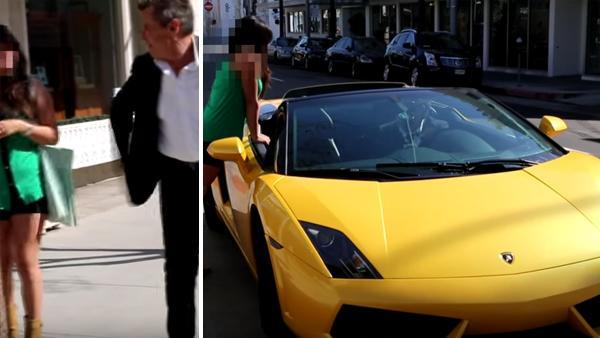 Först nobbar hon honom - när hon fick se hans Lamborghini ändrade hon sig snabbt