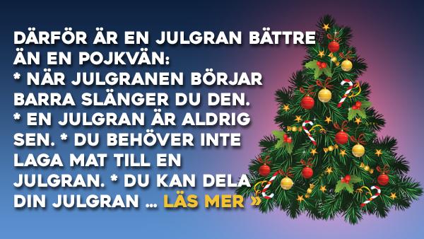 Vet du varför en julgran är bättre än en pojkvän? Se svaren här!