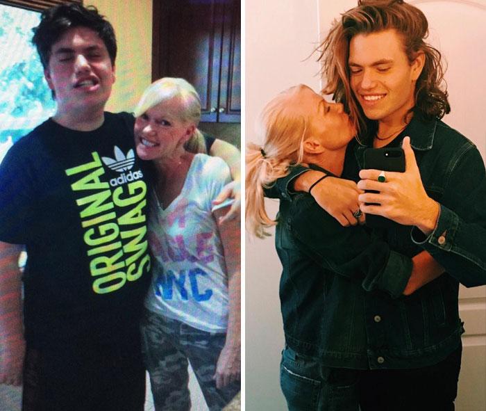 12. 4 års skillnad mellan bilderna (tillsammans med sin mamma på mors dag 2014 och 2018)