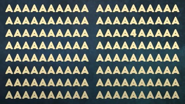 Dagens utmaning: Hitta siffran '4' mellan alla bokstäverna 'A' inom 15 sekunder